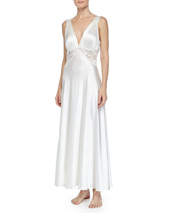 Bijoux Lace-Inset Long Gown, Pearl