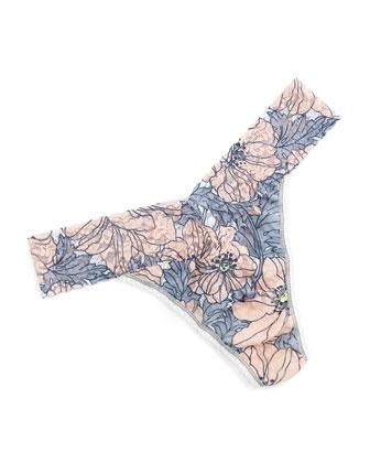 Chloe Original-Rise Floral-Print Lace Thong, Multicolor