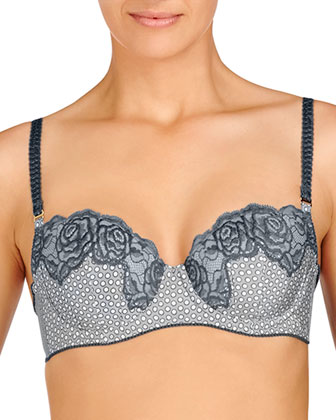 Ellie Leaping Contour Balconette Bra, Gray Dotty Print