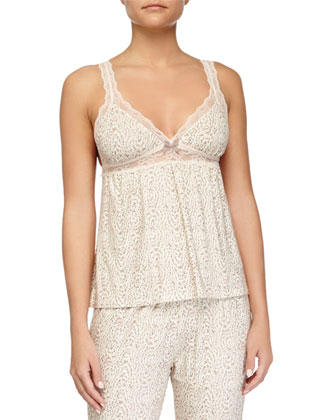 Floral Garland Lace-Trim PJ Camisole & Cropped Pants