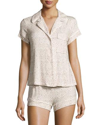 Floral Garland Short Pajama Set, Tapenade