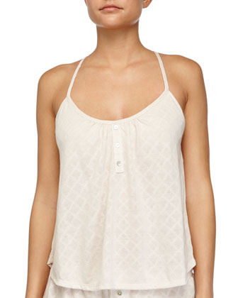 Earl Button-Front Patterned Lounge Camisole, Sugar