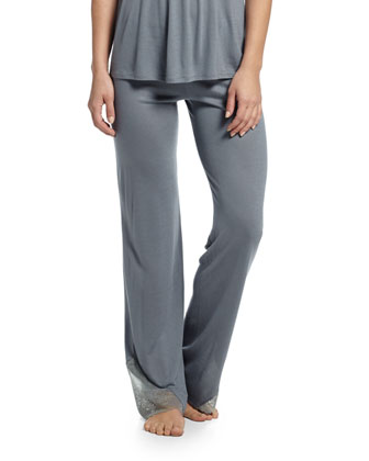 Michaela Lace-Trim Lounge Pants, Smoked Blue