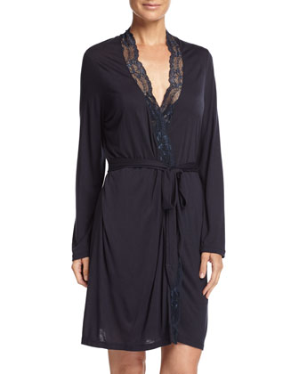 Everly Lace-Trim Short Robe, Infinity Blue