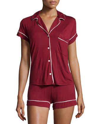 Gisele Boxer-Short Pajama Set, Merlot