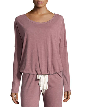 Heather Slouchy Drawstring Lounge Tee, Woodrose