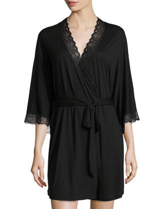 Georgette Lace-Trim Short Robe, Black