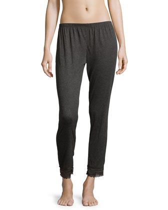 Cece Lace-Trimmed Cropped Lounge Pants, Thunderstorm