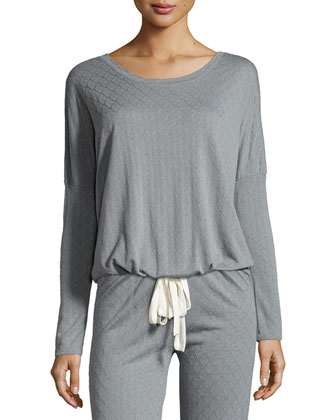 Earl Slouchy Drawstring Top, Smoked Blue
