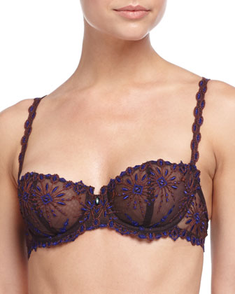 Vendome Lace Demi Bra & Floral-Embroidered Hipster Briefs