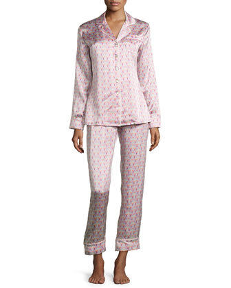 Lila Saori Printed Long-Sleeve Pajama Set, Pink