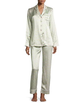 Lila Yurika Printed Long-Sleeve Pajama Set, Green