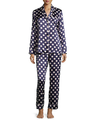 Lila Tomoko Polka-Dot Long-Sleeve Pajama Set, Navy/Gray