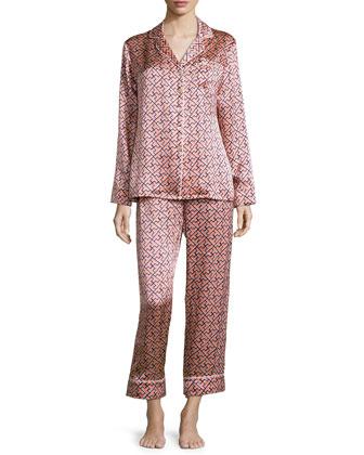 Lila Mizuki Printed Long-Sleeve Pajama Set, Pink