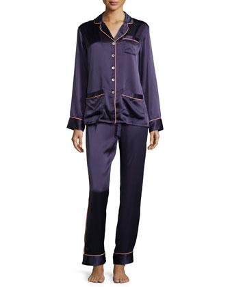 Coco Contrast-Trim Long-Sleeve Pajama Set, Navy
