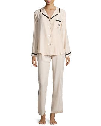 Long-Sleeve Pajama Set, Champagne/Black