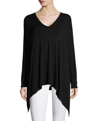 Fugi V-Neck Knit Shirt, Black