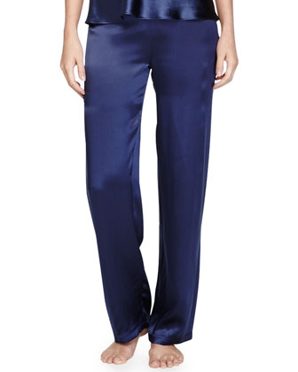 Catie Silk Drawstring Lounge Pants, Navy