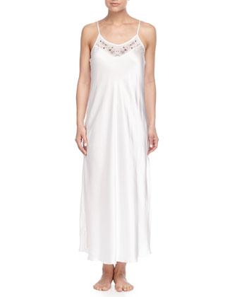Printed Satin Long Robe & Slip Nightgown