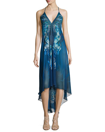 Printed Sleeveless Scarf Dress, Blue Pattern