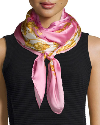 Polka-Dot Silk Scarf, Pink/Multi
