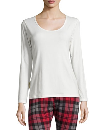 Nita Scoop-Neck Long-Sleeve Lounge Tee, Salt
