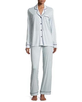 Bella Paisley Long-Sleeve Pajama Set, Marine Blue