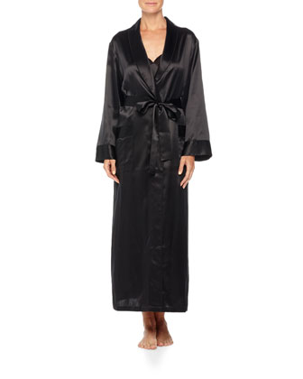 Kimono-Sleeve Silk Long Robe & Nightgown