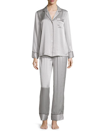 Dot & Diamond-Print Pajama Set, White/Black