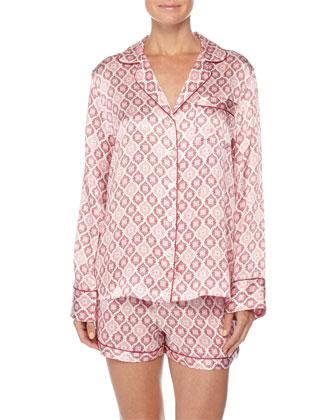 Contrast-Trim Long-Sleeve Shortie Pajama Set, Holiday Print