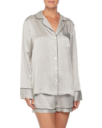 Contrast-Trim Long-Sleeve Shortie Pajama Set, White/Black