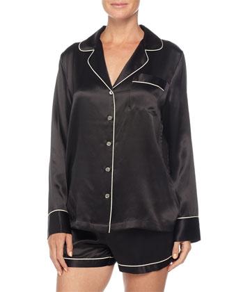 Contrast-Trim Long-Sleeve Shortie Pajama Set, Black/Ivory