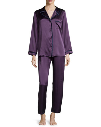Solid Silk Pajama Set, Winter Plum