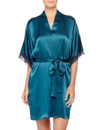 Bijoux Lace-Trim Silk Robe, Peacock