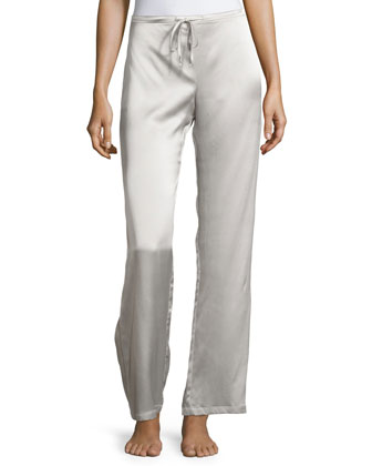 Silk Charmeuse Lounge Pants, Antique Silver