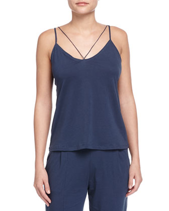 String Jersey Knit Camisole & Voile-Trimmed Cropped Lounge Pants, Azure