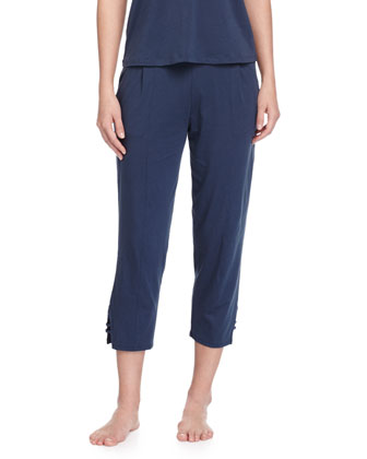 Voile-Trimmed Cropped Lounge Pants, Azure