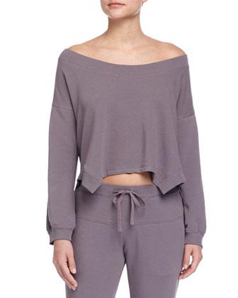 Alpaca Boucle Wrap Cardigan, Sling Off-the-Shoulder Sweatshirt & ...