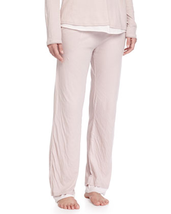 Double-Layer Organic-Knit Lounge Pants, Tea Rose