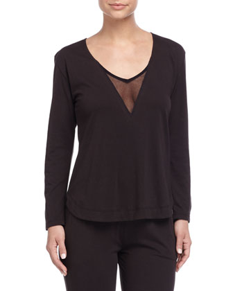 Tulle-Trim V-Neck Jersey Top, Black