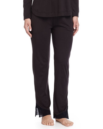 Cotton Lounge Pants with Tulle Trim, Black