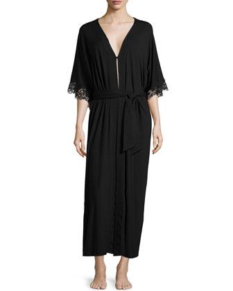 Petit Macrame Lace-Trim Long Gown, Black