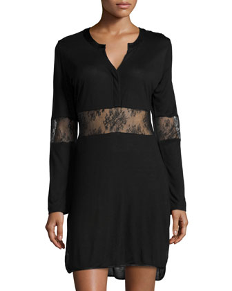 Eva Long-Sleeve Nightgown W/Lace Inset