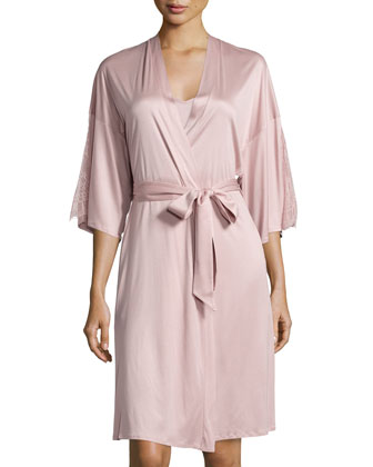 Constance Lace-Inset 3/4-Sleeve Wrap Robe
