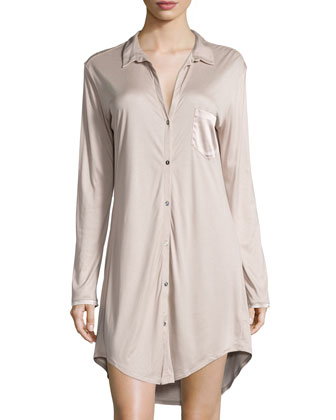 Grand Central Boyfriend Sleepshirt, Coffee Cream