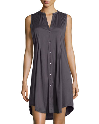 Cotton Deluxe Sleeveless Gown, Charcoal