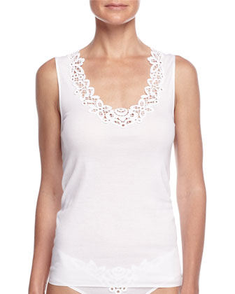 Isabeau Lace-Trimmed Tank Top & High-Cut Cotton Briefs