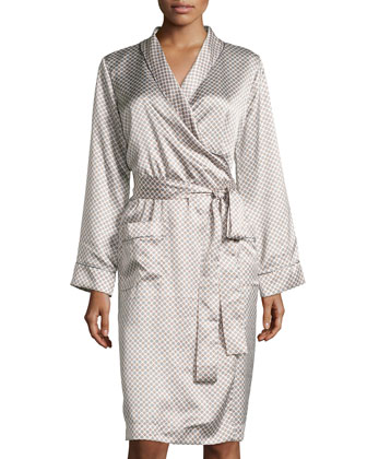 Esprit Cravate Medallion-Print Short Robe, Gris Dandy
