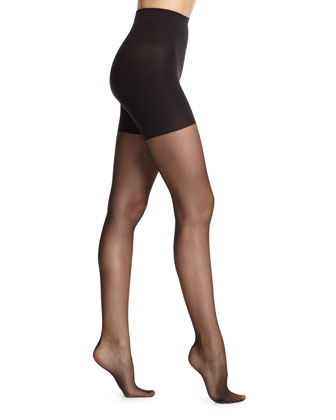 Back-Seam Sheer Tights, Black