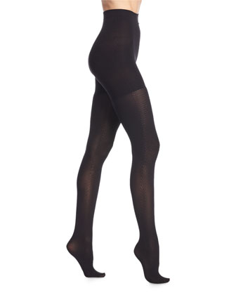 Diagonal-Contrast Sheer Tights, Very Black